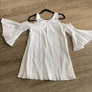 White cold shoulder dress
